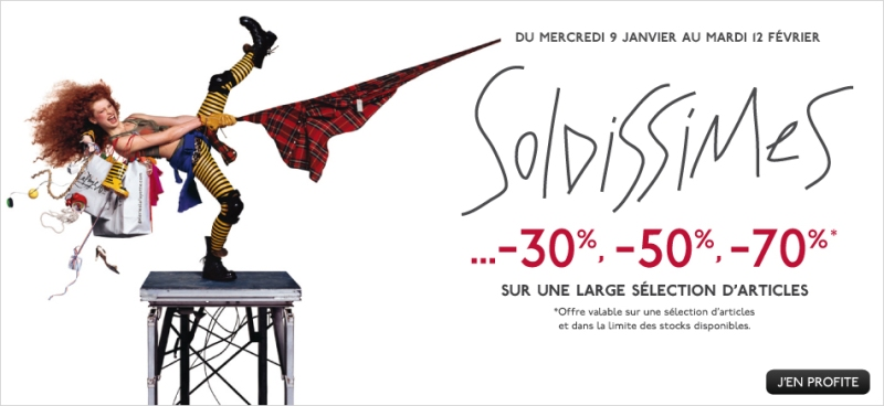 Sign advertising the sales (from http://www.galerieslafayette.com/)