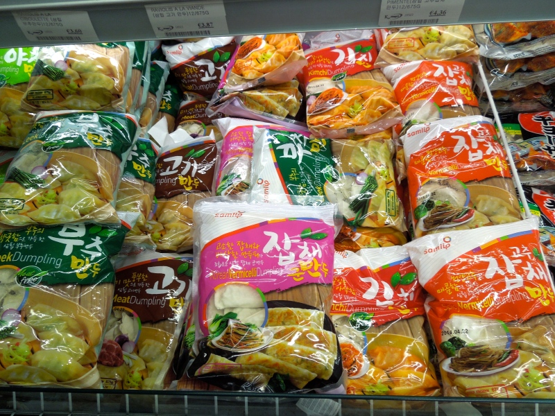 Packs of frozen mandu, aka easy dinners.
