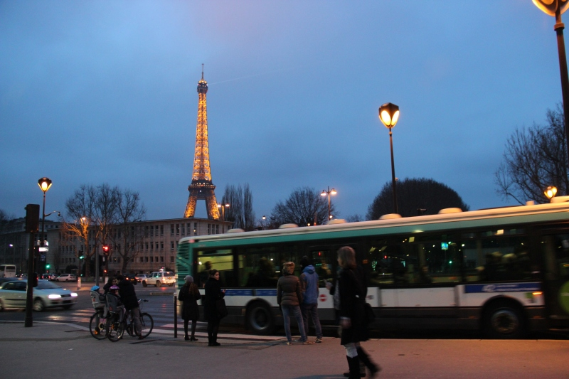 The Eiffel Tower in the context of normal Parisian life. An appropriate first sighting of the famous landmark.