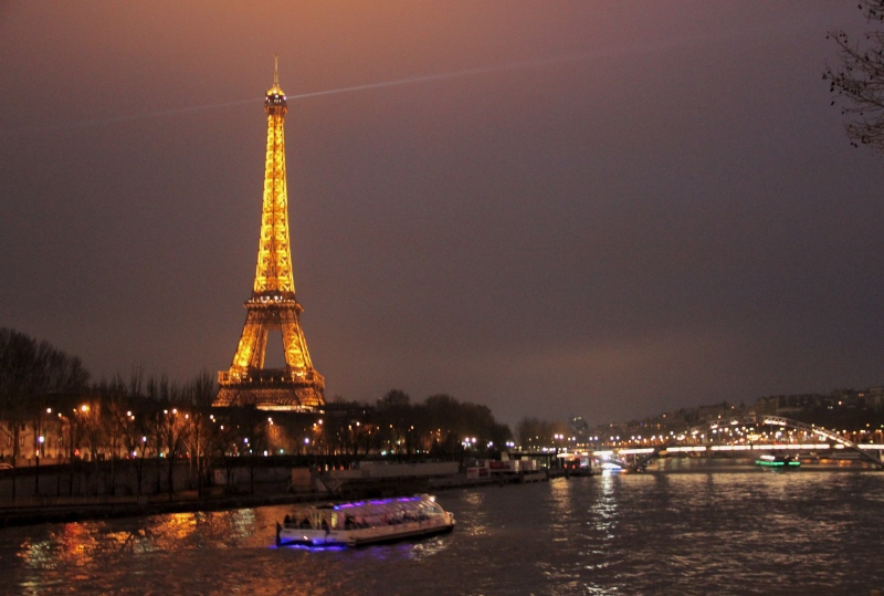 The Eiffel Tower and the Seine.