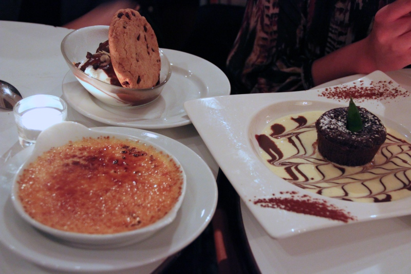 Dessert! Yogurt ice cream with a cookie (house specialty), créme brulée (best I've had so far), and molten chocolate cake