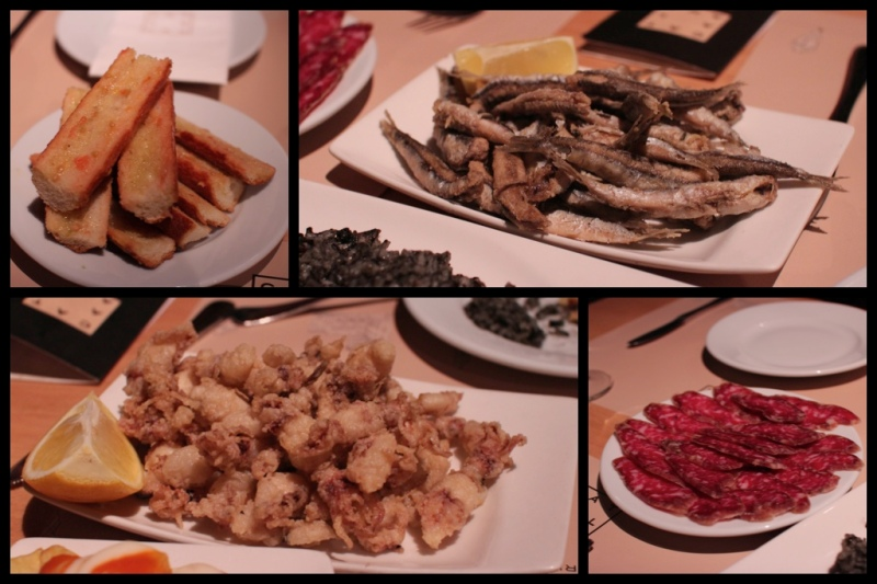 clockwise, from top left - toast rubbed with tomato and olive oil; fried sardines; cured sausage; baby calamari