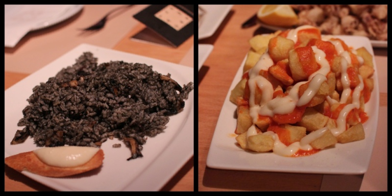 arroz negro (squid ink rice); patatas bravas (fried potatoes with special sauce)